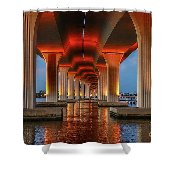 Shower Curtain featuring the photograph Orange Light Bridge Reflection by Tom Claud