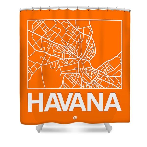 Orange Map Of Havana Shower Curtain