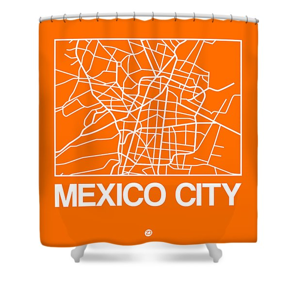 Orange Map Of Mexico City Shower Curtain