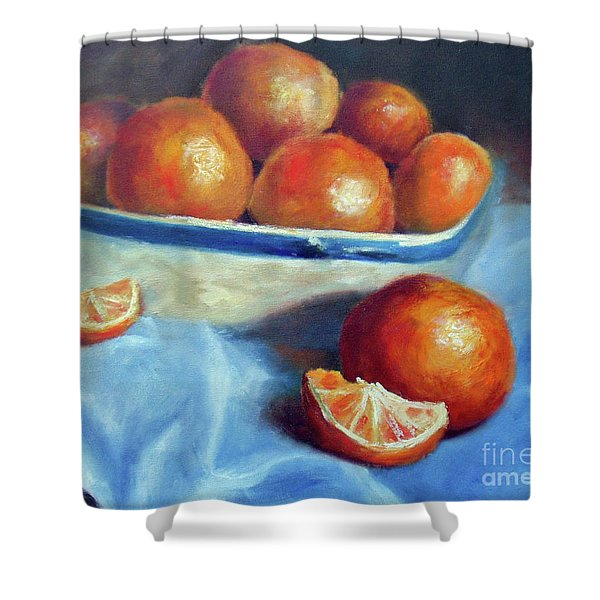 Oranges And Blue Shower Curtain