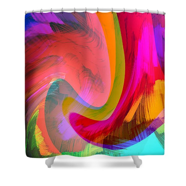 Original Fine Art Digital Abstract Warp10c Scaled Red. Shower Curtain