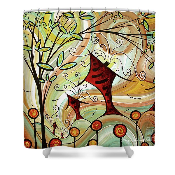 Original Whimsical Houses Landscape Paintings Fire Poppies By Megan Duncanson Shower Curtain