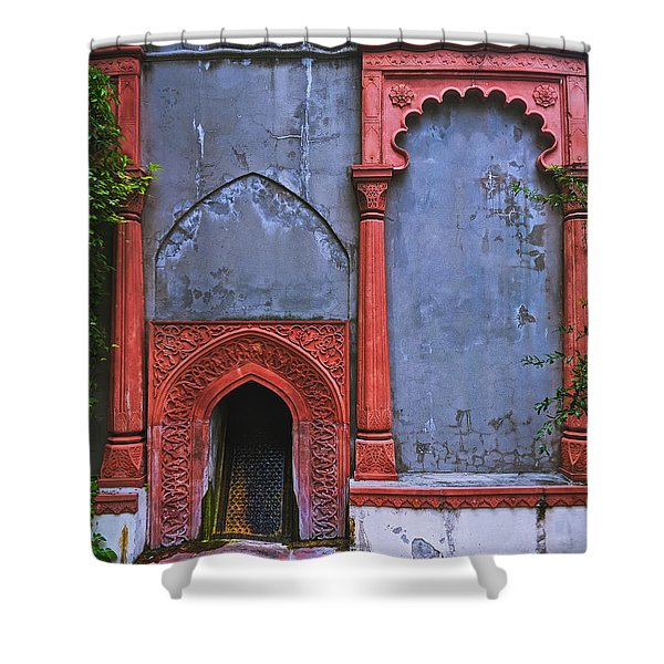 Ornate Red Wall Shower Curtain
