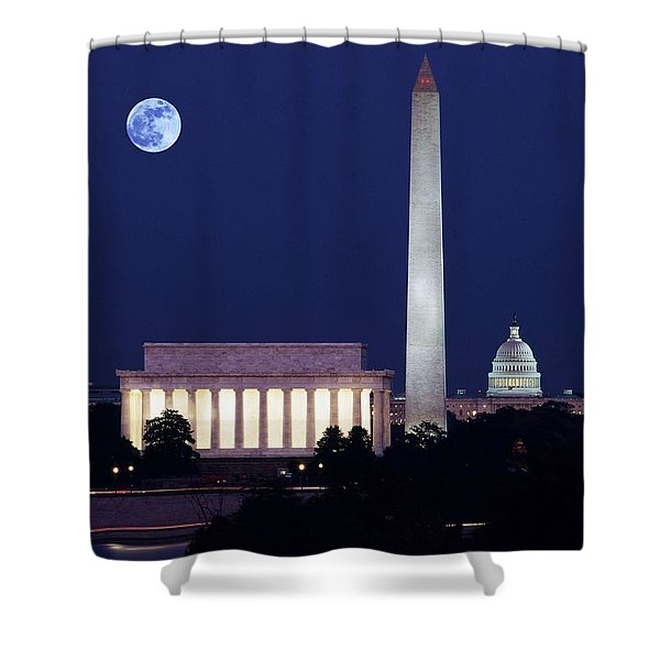 Our Treasured Washington Monuments At Night. Original Image From Carol M. Highsmith V2 Shower Curtain