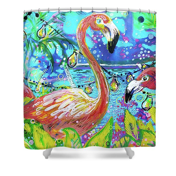 Outdoor Flamingo Party Shower Curtain