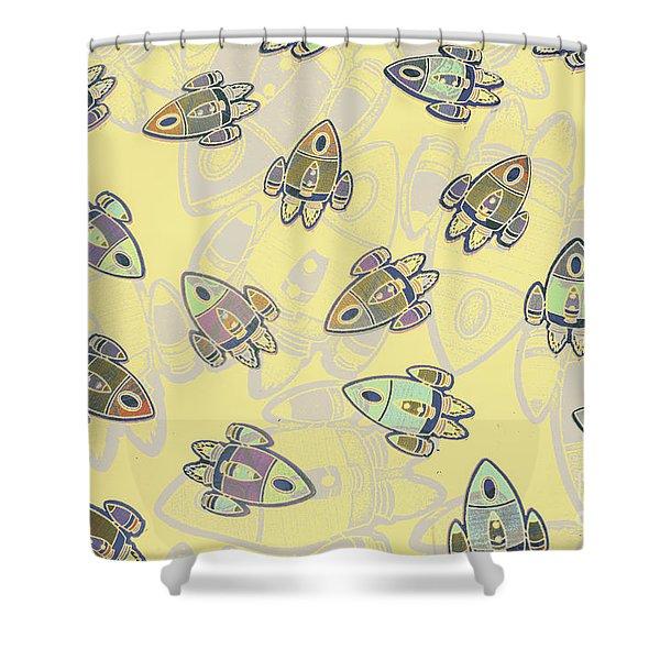 Overlaid Orbits Shower Curtain