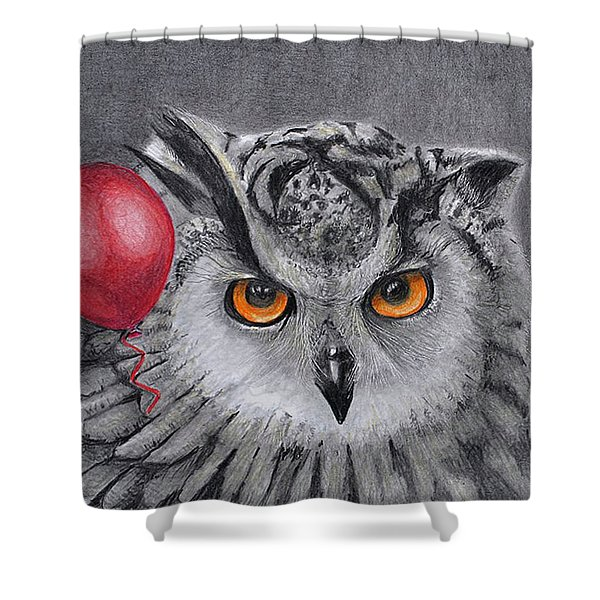 Owl With The Red Balloon Shower Curtain