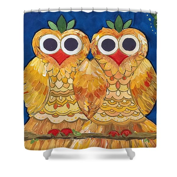 Owls On A Branch Shower Curtain