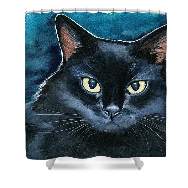 Ozzy Black Cat Painting Shower Curtain