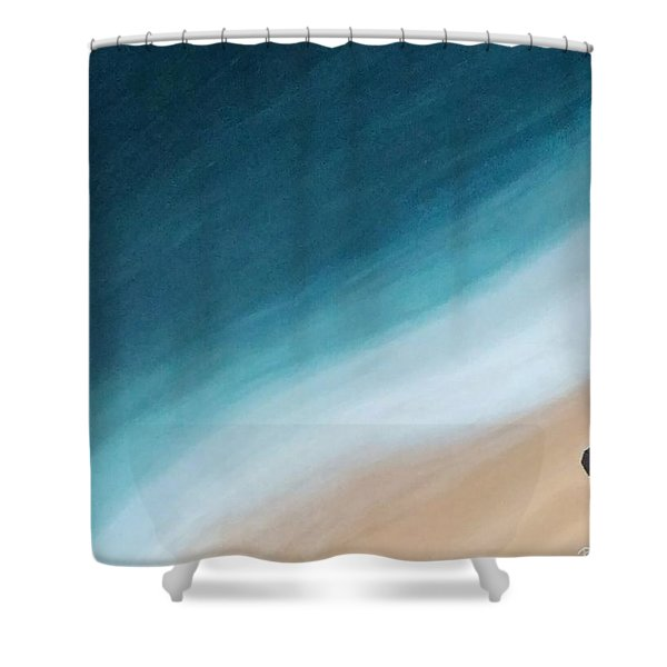 Pacific Ocean And Red Umbrella Shower Curtain
