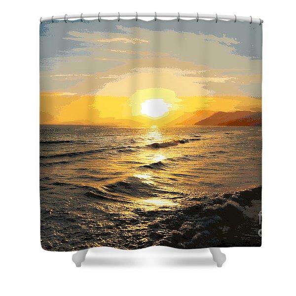 Pacific Sunset Impressionism, Santa Monica, California Shower Curtain
