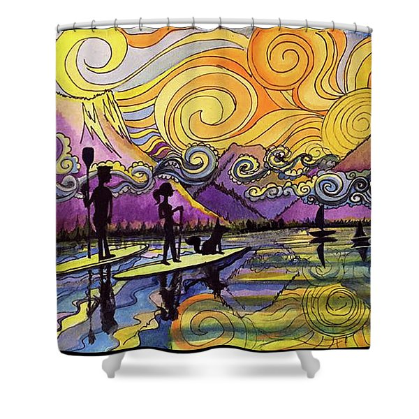 Paddleboarders Frisco Colorado Shower Curtain