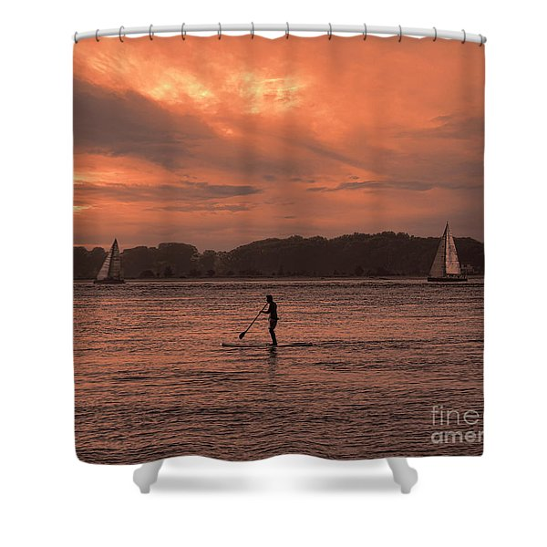 Paddleboarding On The Great Peconic Bay Shower Curtain