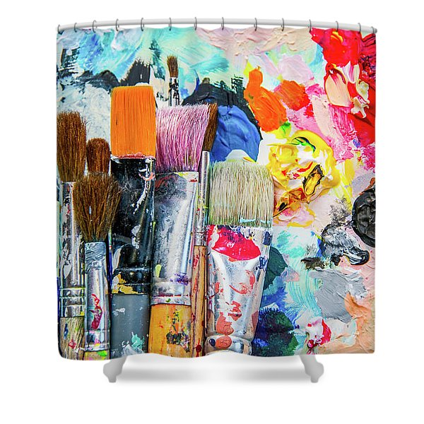 Paint Brushes And Colors Shower Curtain