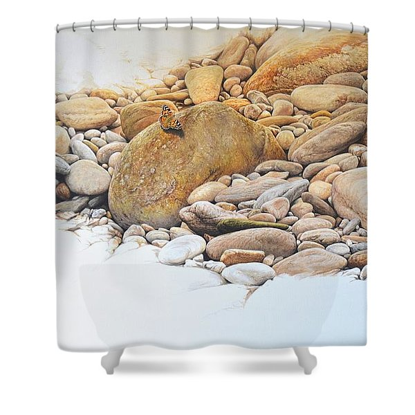 Shower Curtain featuring the painting Painted Lady Butterfly by Alan M Hunt