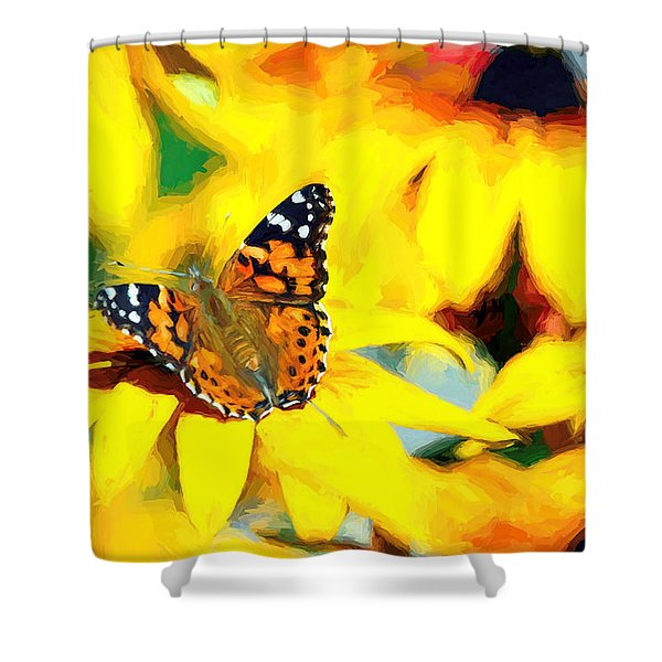 Painted Lady Butterfly Van Gogh Shower Curtain