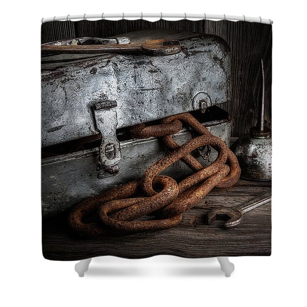 Painted Toolbox And Chain Shower Curtain