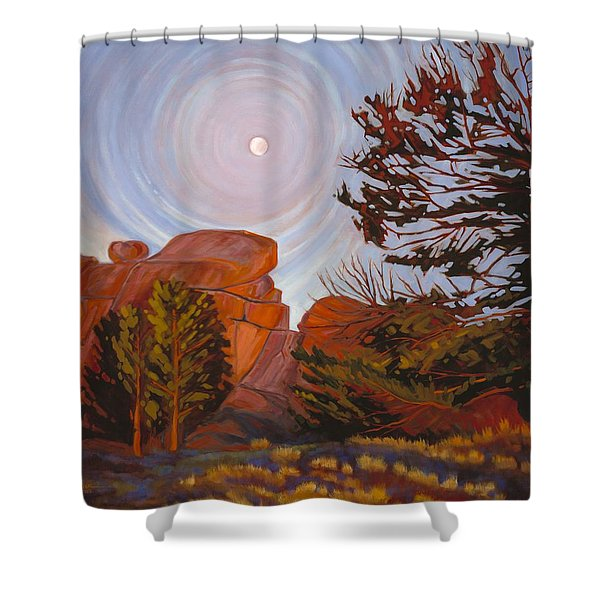 Pale Moon Over Vedauwoo Shower Curtain