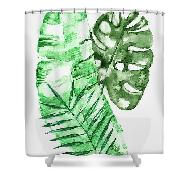 Palm Leaves-banana, Coconut, Monstera Shower Curtain