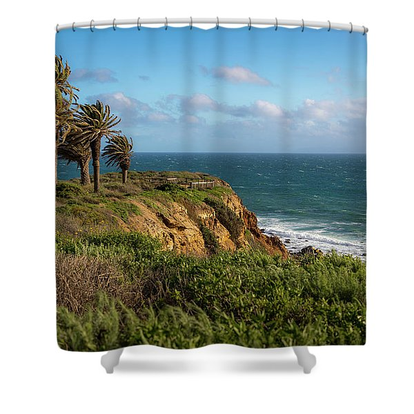 Palm Trees Blowing In The Wind Shower Curtain