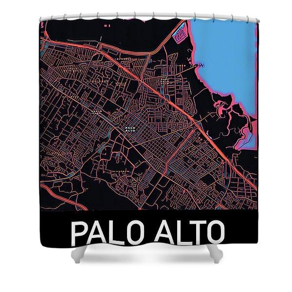 Palo Alto City Map Shower Curtain