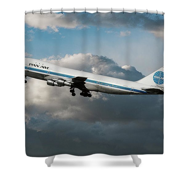 Pan American Boeing 747 At Los Angeles Airport Shower Curtain