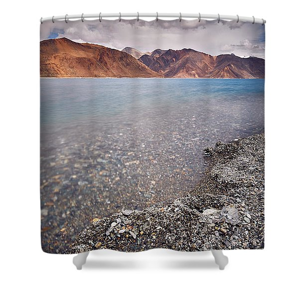 Shower Curtain featuring the photograph Pangong Tso by Whitney Goodey