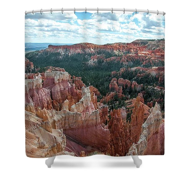 Panorama  From The Rim, Bryce Canyon  Shower Curtain