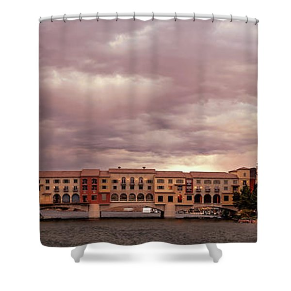 Panorama Of Ominous Storm Clouds Over Lake Las Vegas - Henderson Nevada  Shower Curtain