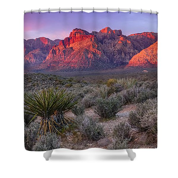 Panorama Of Rainbow Wilderness Red Rock Canyon - Las Vegas Nevada Shower Curtain