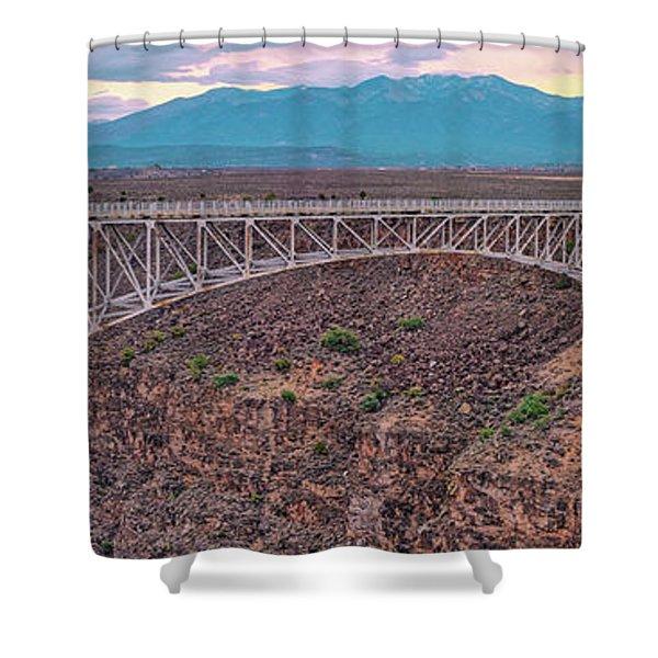 Panorama Of The Rio Grande Del Norte Gorge Bridge And Sangre De Cristo Mountains - Taos New Mexico Shower Curtain