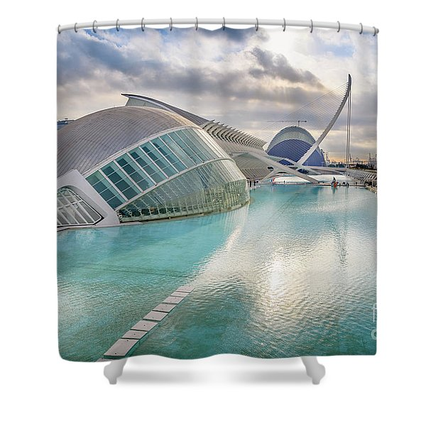 Panoramic Cinema In The City Of Sciences Of Valencia, Spain, Vis Shower Curtain
