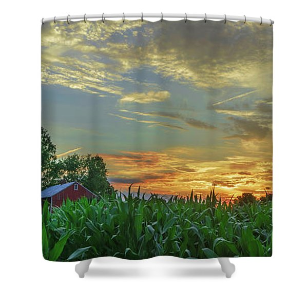 Panoramic Cornfield Sunset Shower Curtain