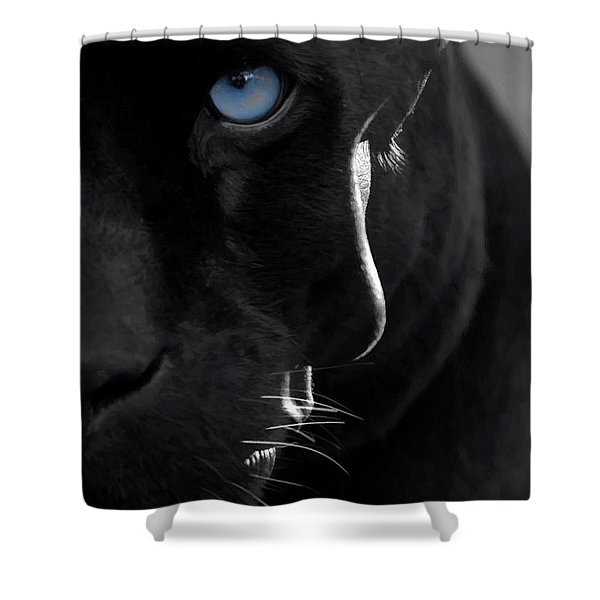 Shower Curtain featuring the digital art Pantheress by ISAW Company