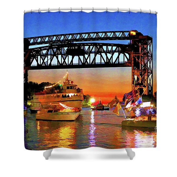 Parade Of Lighted Boats Shower Curtain
