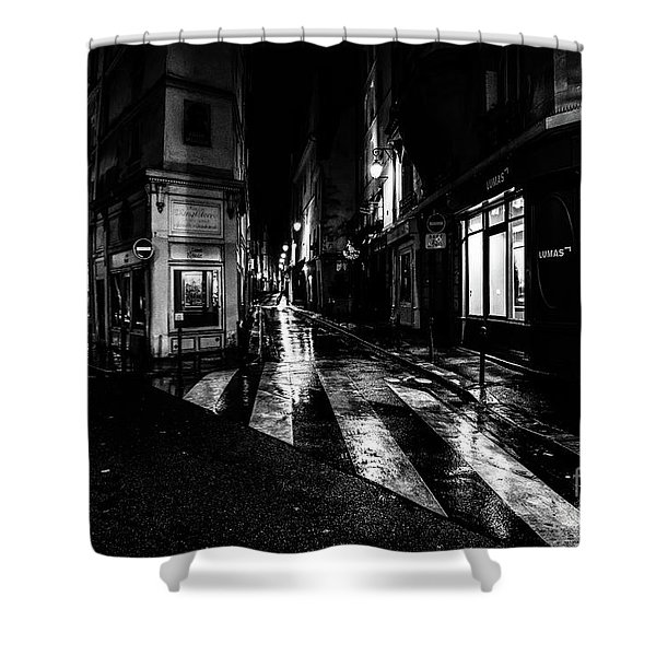 Paris At Night - Rue De Seine Shower Curtain