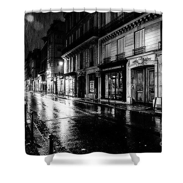 Paris At Night - Rue Saints Peres Shower Curtain