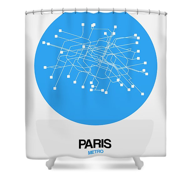 Paris Blue Subway Map Shower Curtain