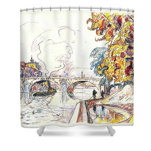 Paris, Pont Royal And The Gare D'orsay - Digital Remastered Edition Shower Curtain