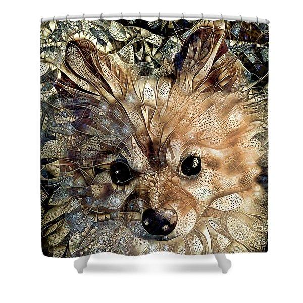 Paris The Pomeranian Dog Shower Curtain