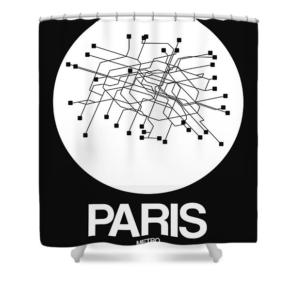 Paris White Subway Map Shower Curtain