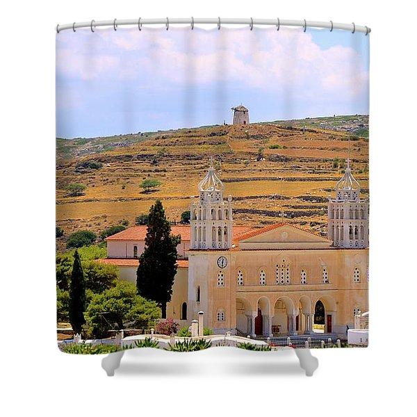 Paros Greece Shower Curtain