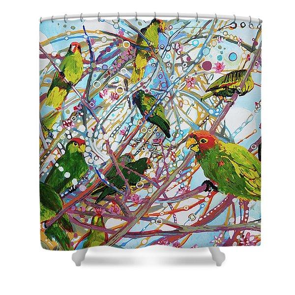Parrot Bramble Shower Curtain