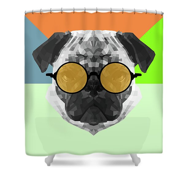 Party Pug In Yellow Glasses Shower Curtain