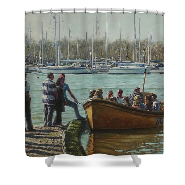 Passengers Boarding The Hamble Water Taxi In Hampshire Shower Curtain