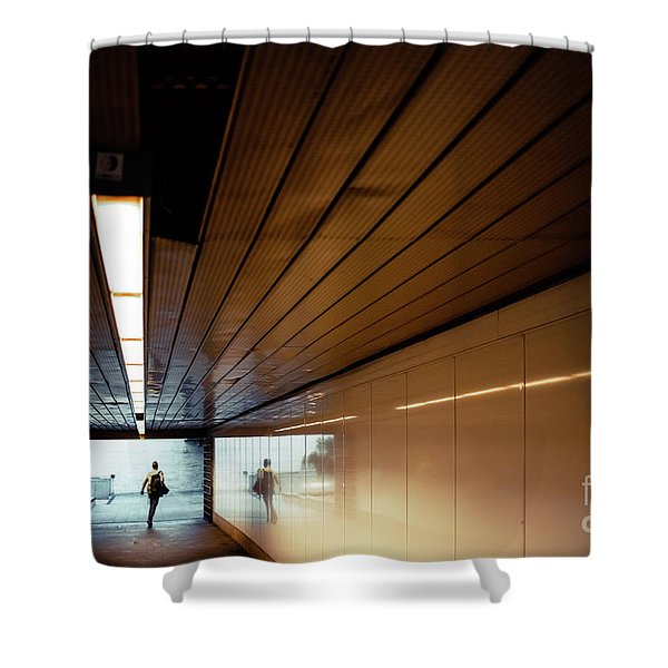 Passengers In A Hurry At The End Of A Tunnel At The Entrance To The Metro Station. Shower Curtain