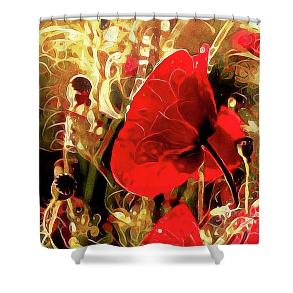 Passionate About Poppies Shower Curtain