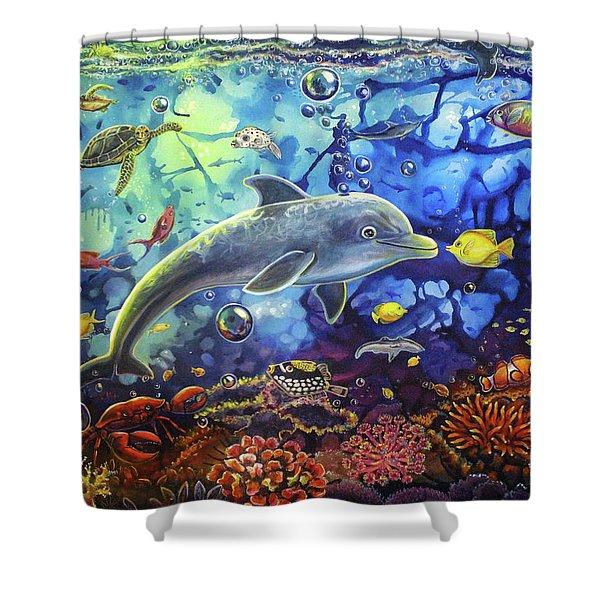Past Memories New Beginnings Dolphin Reef Shower Curtain