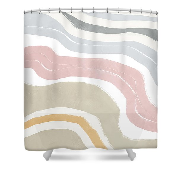 Pastel Waves 1- Art By Linda Woods Shower Curtain