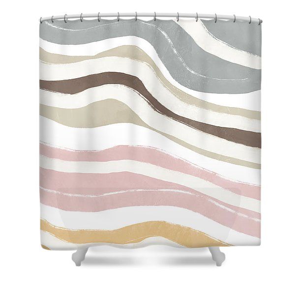 Pastel Waves 2- Art By Linda Woods Shower Curtain